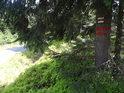 Vnější značka chráněného území na nízkém smrku je doprovázena červenou dálkovou turistickou značkou Jiráskovy cesty.