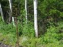Osiky pod tratí na Bolehošť, kde se smí jet rychlostí 90 km/h.