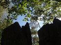 Temné skalní výčnělky pod javorovými listy.