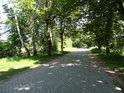 Cesta na jižním okraji Bohdanečského rybníka je dlážděná žulovými kostkami.