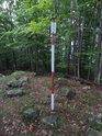 Trigonometrický bod na vrcholu Borového vrchu.