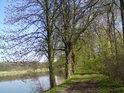 Hráz rybníka Postolov pohledem na jihovýchod.