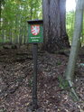 Informační cedule k památnému stromu Modřín Troják.
