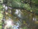 Odraz Slunce ve stružce, odtékající z rybníka Velká Houkvice a mířící do náhonu Alba.