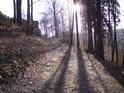 Přístupová cesta k litickému hradu v zimě zeje prázdnotou.