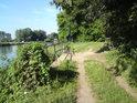 Cesta mezi řekou Labe a chráněným územím.