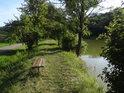 Lavička na východním břehu rybníka Jalovák.