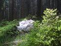 Právě je po bouřce a velký horský kámen se leskne oproti projasňujícímu se nebi.
