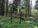 Úřední a informační cedule u lesního meandru.