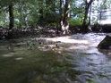 V potůčku po dešti teče o poznání více vody.