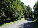 Silnice ze Železného Brdu na Koberovy pod chráněným územím Na Vápenici.