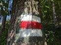 Červená turistická značka.