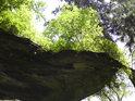 Skála je omílána větrem i deštěm a kořeny stromů k tomu. Pohled je to pěkný, ale v dlouhodobém výhledu to bude stát Kovadlinu její skalní život.