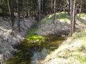 Lesní soutok, kde je znát, že jde o uměle vytvořené lesní stružky.