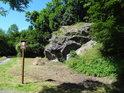 Úřední cedule na jihozápadním cípu chráněného území.