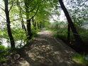 Mostek přes náhon, cesta dále pokračuje po hrázi mezi rybníky Bezruč a Starý (vpravo).
