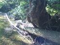 Řeka Dědina dává najevo, že hladina její vody je výrazně proměnlivá.