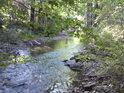 Klidný letní toky řeky Dědiny.