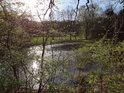 Slunce se odráží pod východní hrází rybníka Štěpán.