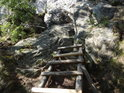 Dřevěný žebřík končí, dál už jen horolezci a ptáci.