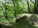 Hradní příkop na vrcholu Třebovského hradiska dávno zarůstá a může se zde svobodně pohybovat každý.