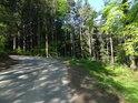 Stoupavý oblouk silnice nedaleko obce Chlum, která tvoří část východní hranice chráněného území.