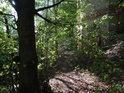 Pěšina lesem ke stavbě, která snad byla kaplí.